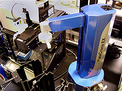 The blue robotic arm shown here moves plates of samples during automated tests: Click here for photo caption.