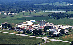 This aerial photograph features the Dairy Research Facility on the east side of BARC, circa 1994: Click here for full photo caption.