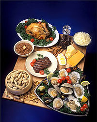 Foods rich in zinc include chicken, eggs, cheese, oysters, beef, and peanuts: Click here for full photo caption.