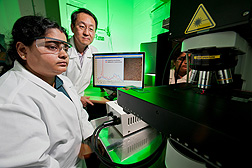 Postdoctoral research associate Jaya Sundaram (left) and agricultural engineer Bosoon Park are determining whether SERS signatures can be used to reliably identify pathogenic foodborne bacteria: Click here for photo caption.