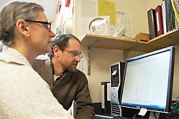 ARS chemists John Newman and Theresa Pedersen review data from a UPLC-ESI-MS/MS system used to measure methylmalonic acid, an indicator of vitamin B12, in a blood sample: Click here for full photo caption.