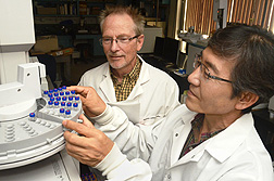 Chemist Robert Vander Meer (left) and entomologist Man-Yeon Choi use gas chromatography-mass spectrometry to measure changes in ant trail pheromone production after RNA interference: Click here for photo caption.