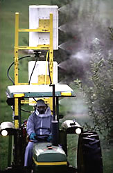 The air-curtain orchard sprayer driven by technician Andrew Doklovic.