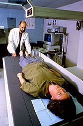 Measuring body fat and bone density of U.S. Army major Maureen Barthen