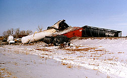 Scene of a 1989 train delrailment site near showing rail cars that leaked nitrogen fertilizer.