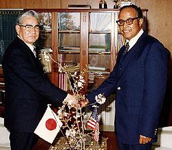 Mayor Tadashi Furusho of Tokyo and former U.S. National Arboretum botanist Roland Jefferson.