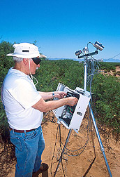 Photo: Schmugge sets up a thermal instrument to measure temperature on the Jornada Range. Link to photo information