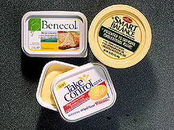 Photo: Enriched margarine-based products marketed to lower cholesterol.