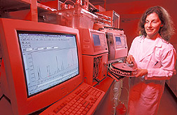 Nutritional biochemist uses high-performance liquid chromatography: Click here for full photo caption.