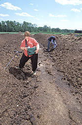 Microbiologist and technician collect compost samples: Click here for full photo caption.