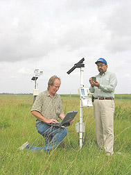 Photo: Hydrologist and hydrologic technician monitor soil moisture fluctuations. Link to photo information