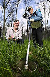 Plant physiologist and soil scientist use a special video camera to track forage health: Click here for full photo caption.