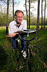 Soil scientist uses a hemispheric lens and camera: Click here for full photo caption.