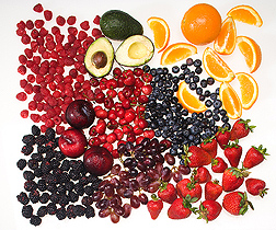In this mix of fruit, the ORAC score of blueberries is highest, followed by (in order) the scores of black plum, blackberries, raspberries, strawberries, sweet cherries, avocado, navel orange, and red grapes: Click here for full photo caption.