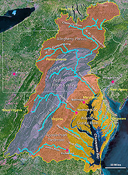 Chesapeake Bay Watershed map created from a satellite image: Click here for photo caption.