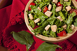 Freeze-dried salmon cubes are added to a fresh garden salad: Click here for full photo caption.