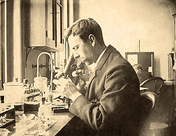 The National Agricultural Library's parasite collection records also include notable photos like this one from 1893 of USDA's Charles W. Stiles, who discovered American hookworm in humans, establishing that the parasite was endemic and a major health hazard in the South: Click here for full photo caption.
