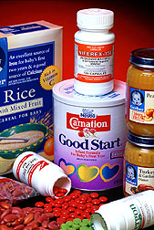 Products such as infant formula and cereals, staple foods, and dietary supplements. Click here for full photo caption.