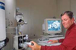 Photo: ARS plant pathologist Charles Krause uses a cold field emission scanning electron microscope to study pesticide distribution on plant leaves. Link to photo information