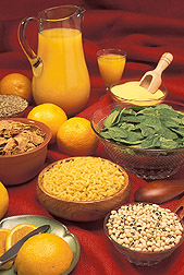 Leafy greens, dried beans and peas, fortified cereals and grain products--rich sources of folate:  Link to photo information