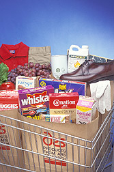 Shopping cart full of commercial products from ARS research:  Link to photo information