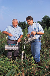Ecologist and agricultural engineer pump water from a sampling well: Click here for full photo caption.