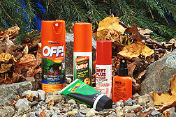 Insect repellents made from DEET, an ARS-developed compound. Link to photo information