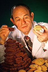 Chemist George Inglett prepares to sample baked goods made with Z-trim: Link to photo information