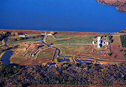 Aerial view of the ARS Hydraulic Engineering Research Laboratory facility with Lake Carl Blackwell in the backgraound. Click here for full photo caption.
