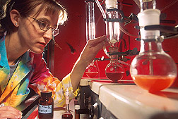 While monitoring a process for the extraction of flavonoids from berries, a technician checks the level of solvent. Link to photo information