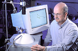 Entomologist uses the servosphere in conjunction with the computer program SphereTrack: Click here for full photo caption.