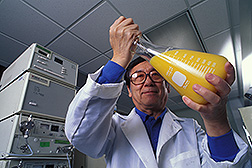 Chemist prepares to analyze limonoids in orange juice: Click here for full photo caption.