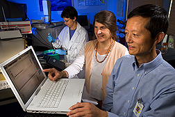 Geneticist (right) and plant pathologist (center) observe specificity of molecular detection methods that are used in breeding lettuces for resistance to corky root. In the background, technician prepares samples: Click here for full photo caption.