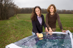 Scientists study a satellite image in efforts to promote the Chesapeake Bay's health: Click here for photo caption.