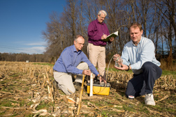 At an experimental watershed in Beltsville, Maryland, ARS scientists measure the movement of agrichemicals from a corn field to the riparian buffer in the background: Click here for full photo caption.