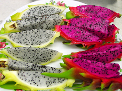 Slices of fresh dragon fruit, revealing its edible flesh: Click here for photo caption.