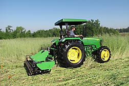 Photo:  A roller/crimper being used on a rye cover crop near Auburn, Alabama. Link to photo information