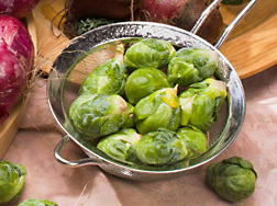 Brussels sprouts, a cruciferous crop that is vulnerable to bacterial blight: Click here for photo caption.