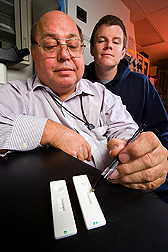 This lateral flow device can provide positive identification of multiple forms of botulinum toxin in less than 20 minutes: Click here for photo caption.