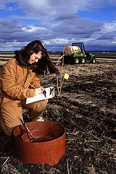 A biological science technician records water depth measurements. Click here for full photo caption.