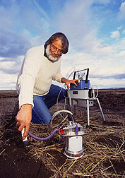 Microbiologist Steve Albrecht measures soil respiration. Click here for full photo caption.