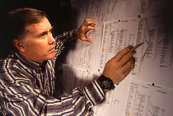 Photo: ARS geneticist Perry Cregan examines a genetic map of soybeans. Link to photo information