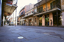 Round cap (foreground) marks a termite bait station in New Orleans' French Quarter