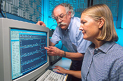 Photo: Chemists Richard Zaylskie and Janice Huwe process data from a high-resolution GC/MS dioxin analysis. Link to photo information