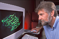 Chemist examines a computer graphic image: Click here for full photo caption.