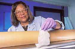 Technician applies a finishing technique to cotton gauze: Click here for full photo caption.