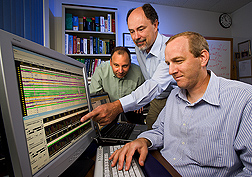 Microbiologist (left), research leader (center), and molecular biologist view DNA sequence variation within the cattle prion gene: Click here for full photo caption.