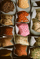 Photo: Bags holding a variety of seeds. Link to photo information
