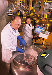 National Animal Germplasm Program coordinator Harvey Blackburn and technician Ginny Schmit place germplasm samples into a liquid nitrogen tank for long-term storage.
