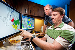 Using weather data maps that track storm paths and precipitation amounts, meteorologists estimate boll weevil dispersal pathways: Click here for full photo caption.